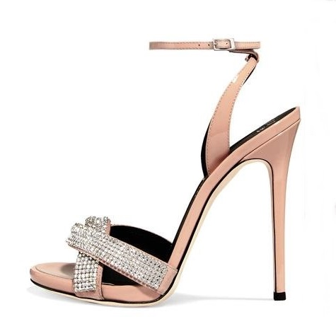 Newest 2018 Crystal Embellished High Heel Sandals Cut-out Ankle Strap Summer Dress Shoes Beige Thin Heels Woman Party Shoes hot selling crystal summer dress shoes black pink beige suede leather ankle strap cut out sandals high heel t bar real photo