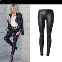 Women's low waist tight leather pants imitation leather Slim black pencil pants women's PU leather pants fake zipper pants