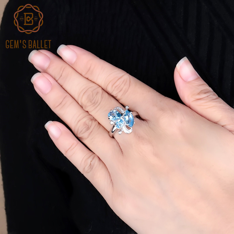 Gem's Ballet 3.03Ct Natural Swiss Blue Topaz Butterfly Rings 925 Sterling Silver Gemstone Ring Fine Jewelry For Women Wedding