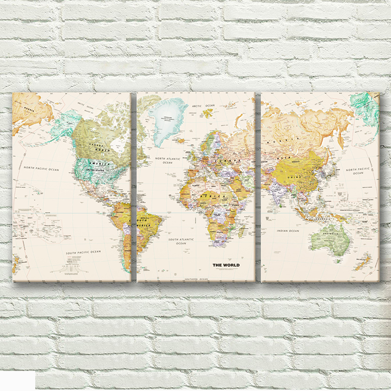 SELFLESSLY Modern Decorative Paintings Vintage World Map 3 Panels/Set Pictures For Living Room Wall Art Canvas Prints No Frame