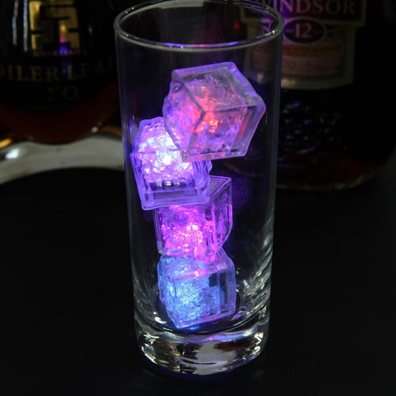 12PCS Luminous Ice Light Cubes Led Flash Ice Drink Cup Sensor Glow Light For Wedding Party Bar Holiday Decoration