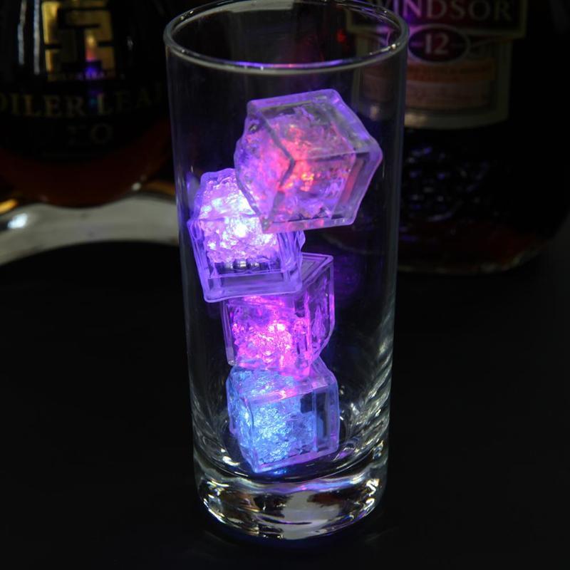 12PCS Luminous Ice Light Cubes Led Flash Ice Drink Cup Sensor Glow Light For Wedding Party Bar Holiday Decoration