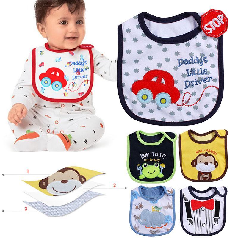 Animals Baby Bibs Cute Cartoon Pattern Toddler Baby Waterproof Saliva Towel Cotton Fit 0-3 Years Old Infant Burp Cloths Feeding Accessories