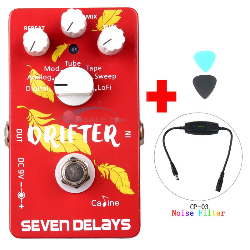 цена на Caline CP-37 SEVEN DELAYS Guitar Effects Pedals Digital Circuit Design True Bypass Pedal and Caline CP-03 Noise Filter