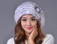 卸売フレンチベレー帽子女性リアルニットウサギの毛皮の帽子で花ファッションブランド女