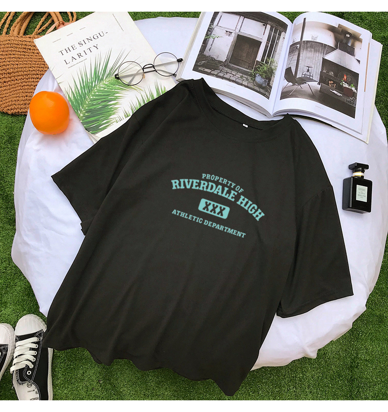 New Fashion T Shirt Women Summer Short Sleeve O Neck Cotton Tops Streetwear Casual Loose Harajuku RIVERDALE HIGH Tee Shirt Femme (6)
