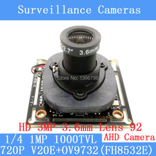 720P AHD 4in1 1000TVL V20E+OV9732(FH8532E) CCTV Camera Module 3MP 3.6mm Lens Video surveillance camera IR-CUT dual-filter switch