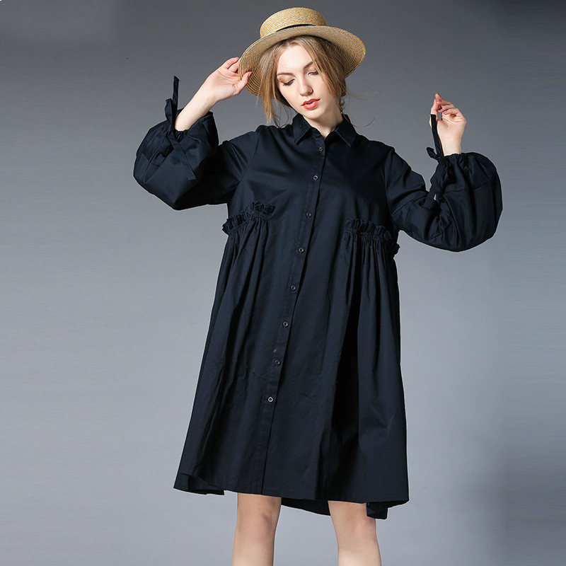New Spring Full Lanterns Sleeve Women Loose Shirt Black/Blue Fashion Pregnancy Clothes For Size XL-4XL 100KG Maternity Clothing loveincolors new fashion pregnancy women