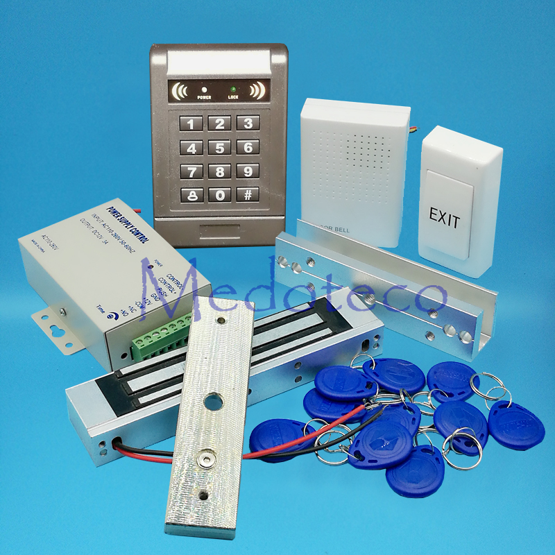 Full 125khz Rfid Card Door Access Control System Kit EM Card Access Controller +350lbs Magnetic Lock + U Bracket for Glass Door diysecur magnetic lock door lock 125khz rfid password keypad access control system security kit for home office