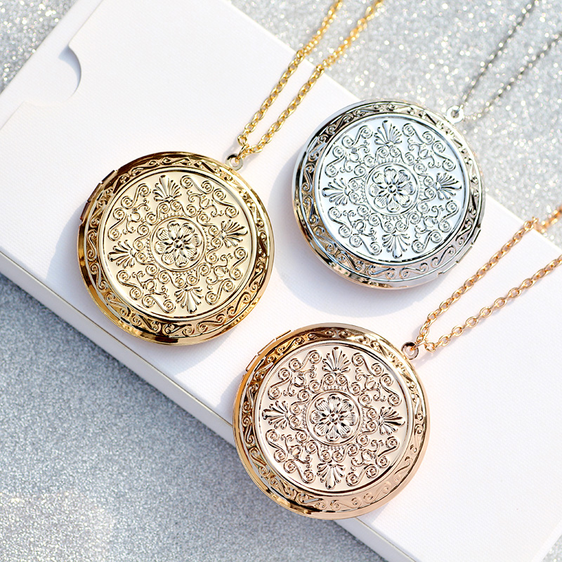 DIY Photo Carved Flowers Round <font><b>Big</b></font> Locket Pendant Pocket <font><b>Watches</b></font> Necklace For Women Girl's Gift image
