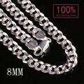 Настроить 100% Реального Стерлингового Серебра 925 цепи ожерелье Цвет серебро Фигаро цепи ожерелье мужчин ювелирные изделия бесплатно