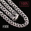 Personaliza 100% Real 925 Plata Esterlina collar de cadena de Color plata Figaro Chain hombres collar de la joyería envío gratis