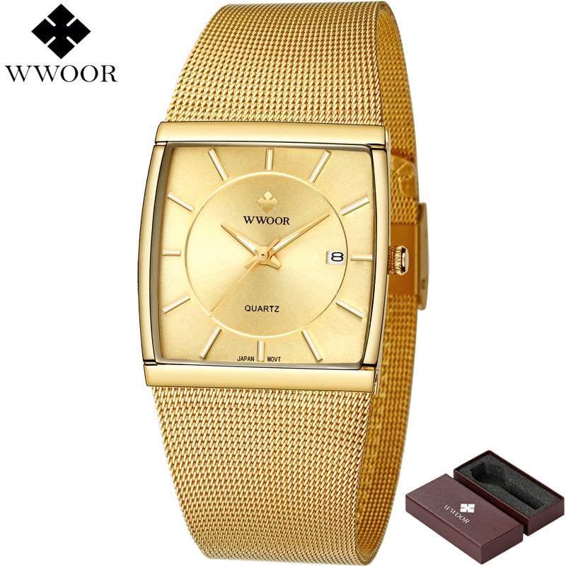 WWOOR Brand Luxury Mens Watches Waterproof Square Gold Quartz Watch Men Stainless Steel Sport Watch Male Clock Relogio Masculino