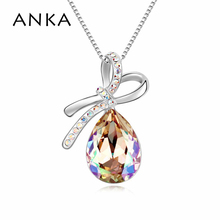 ANKA New Top Fashion Water drop with Bowknot Crystal Necklace Main Stone Crystals from Swarovski Jewelry Christmas Gift #104700(China)