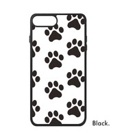 Black White Human Footprint Animal Love Cat Dog Wolf Paws Duck Pattern Phone Case For IPhone