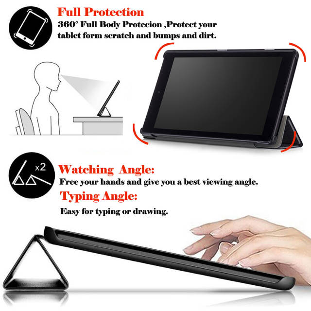 For Amazon Kindle Fire HD 10 2017 Tablet Case Cover For Amazon Kindle Fire  HD 10 2017 Smart Flip Leather Stand Capa Funda+Stylus
