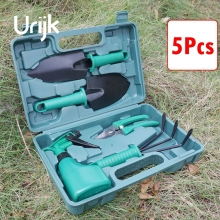 Urijk 5Pcs Gardening Work Hand Tool Set Watering Can Pruning Shears Shovel Rake PP Handle Garden Tools Household Kitchen Tools
