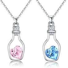 1Pcs Trendy Chains Necklace Popular Style Love Drift Bottles Pendant Necklace Heart Crystal Pendants Colar Fashion Jewelry NB712(China)