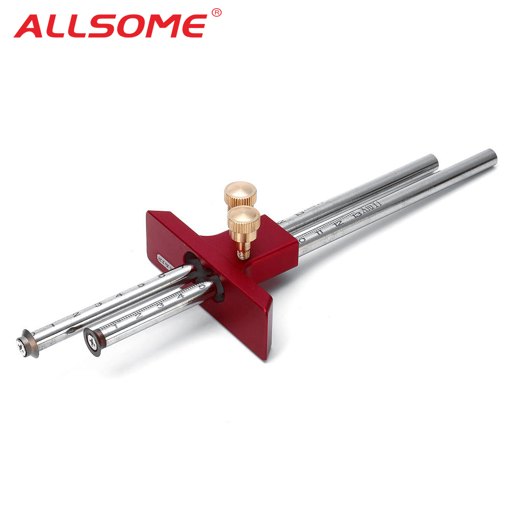 ALLSOME Adjustable European Double Headed Scribe Blade Tool Wooden Scribe-Line Crosswood-Out Tool Woodworking Tool HT2534