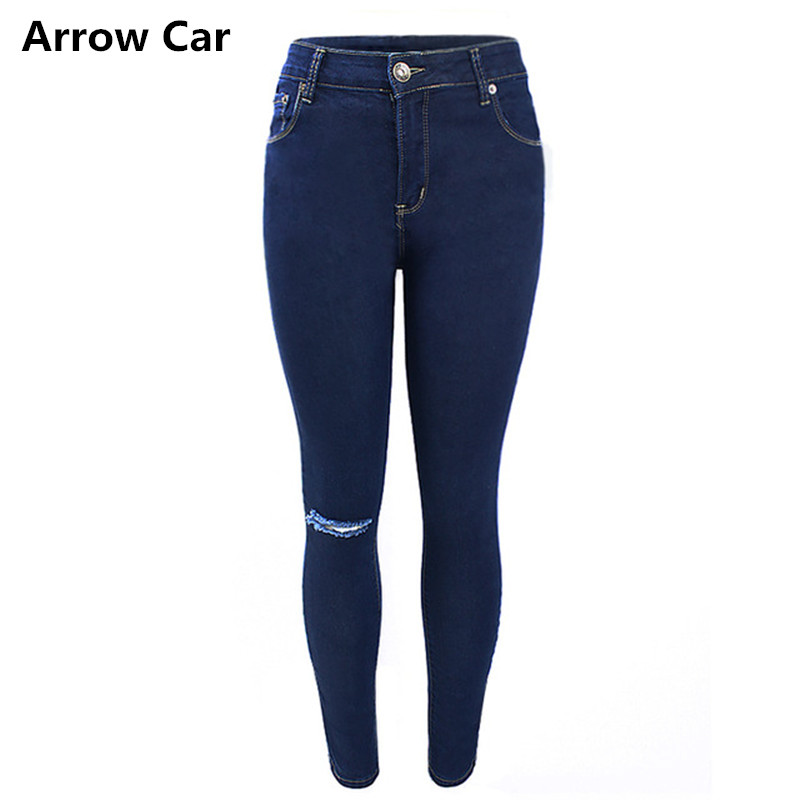 enjoy lowest price hot new products classic style of 2019 US $41.33 |Ripped Jeans Women Single Knee Fashion Dark Blue High Waisted  Skinny Denim Jean Pants For Women Streetwear Jeans Plus Size 42 44-in Jeans  ...