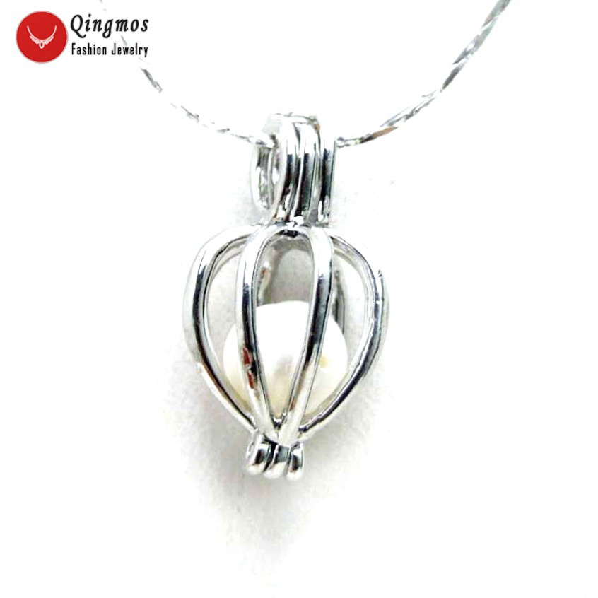 Qingmos 10mm Heart Pendant White Pearl Necklace for Women 17 Silver Plated Chokers Chain-nec6313 wholesale/retail Free shipping