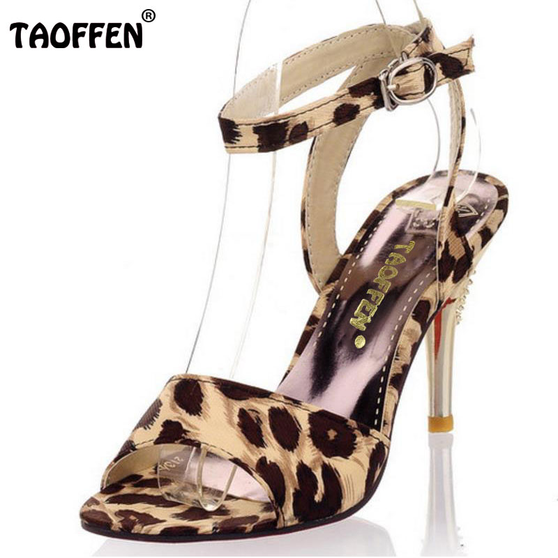 TAOFFEN women high heel sandals ladies buckle party shoes woman sexy leopard heels heeled sandalias footwear size 31-47 PA00162 hosteven high heels women s shoes woman ladies pumps thin heels footwear woman sexy leopard sandals shoes plus size 34 44