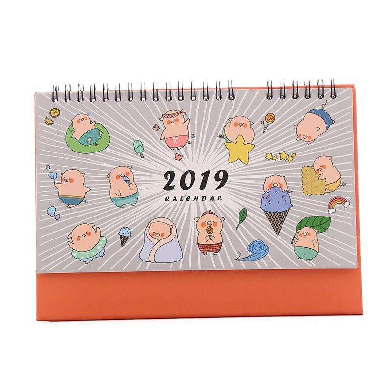 Kalender Offen Coloffice 2019 Jährliche Neue Stil Kalender Nette Cartoon Schwein Desktop Büro Multi-funktion Kalender Büro Liefert 155*215mm 1 Stück Kalender, Planer Und Karten