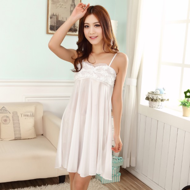 Sexy Silk Women   Nightgowns  &  Sleepshirt   Smooth Satin   Nightgown   Pijamas Mujer Sleepwear Ladies Lace onesize Mini Female Nightdress