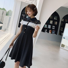 Summer 2019 Turn Down Collar Singer Button Aline Modis Midi Dress Lace Patchwork Office Work Black Dress Women Robe Longue Femme 2019 spring summer loose black knitted dress women turn down collar office work midi dress women with button korean style dress