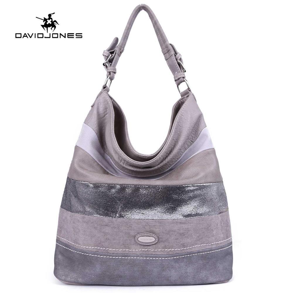 DAVIDJONES women handbag faux leather female tote bags big lady patchwork shoulder bag girl brand messenger