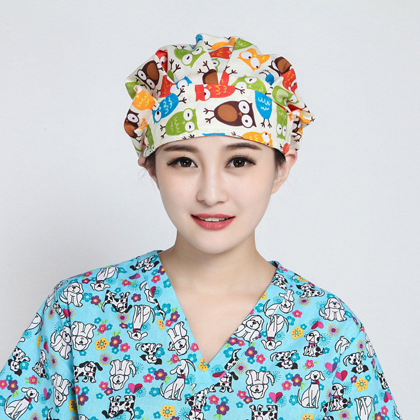 2019 New Brand Medical Uniform Operation Nurse Cap Clinic Doctor Hat Veterinary Dentist Floral Star Cartoon Print Cap Costume