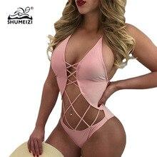 2019 Hot Sale High Cut Out One Piece Swimwear Women Swimsuit Sexy Bathing Suit One-piece Swim Wear Female Solid Black Beachwear