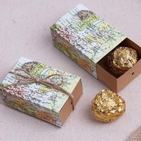 Creative Mini Drawer Shape Pull Candy Box World Map Printing Candy Packaging Box Wedding Gift Box Event Party Supplies 50pcs