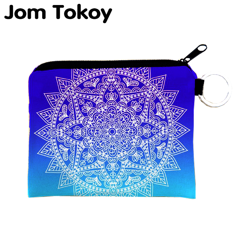 Jom Tokoy mandala ombre blue Mini Wallet 2017 Fashion Prints Women Purse Holder Small Zipper Coin Purse Female Money Bags flamingo beach mini square wallet 2017 who cares fashion prints women purse holder small zipper coin purse female money bags
