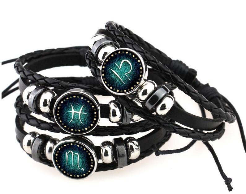 Virgo/Sagittarius/Aquarius/Scorpio/Libra/Capricorn 12 Constellation Zodiac Bracelet Men Women Braided Leather Bracelets Bangles