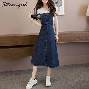Image 4 - Falda larga de 2019 mujeres atado faldas para mujeres Plus tamaño de verano de las mujeres faldas falda de Jeans con correas mujer
