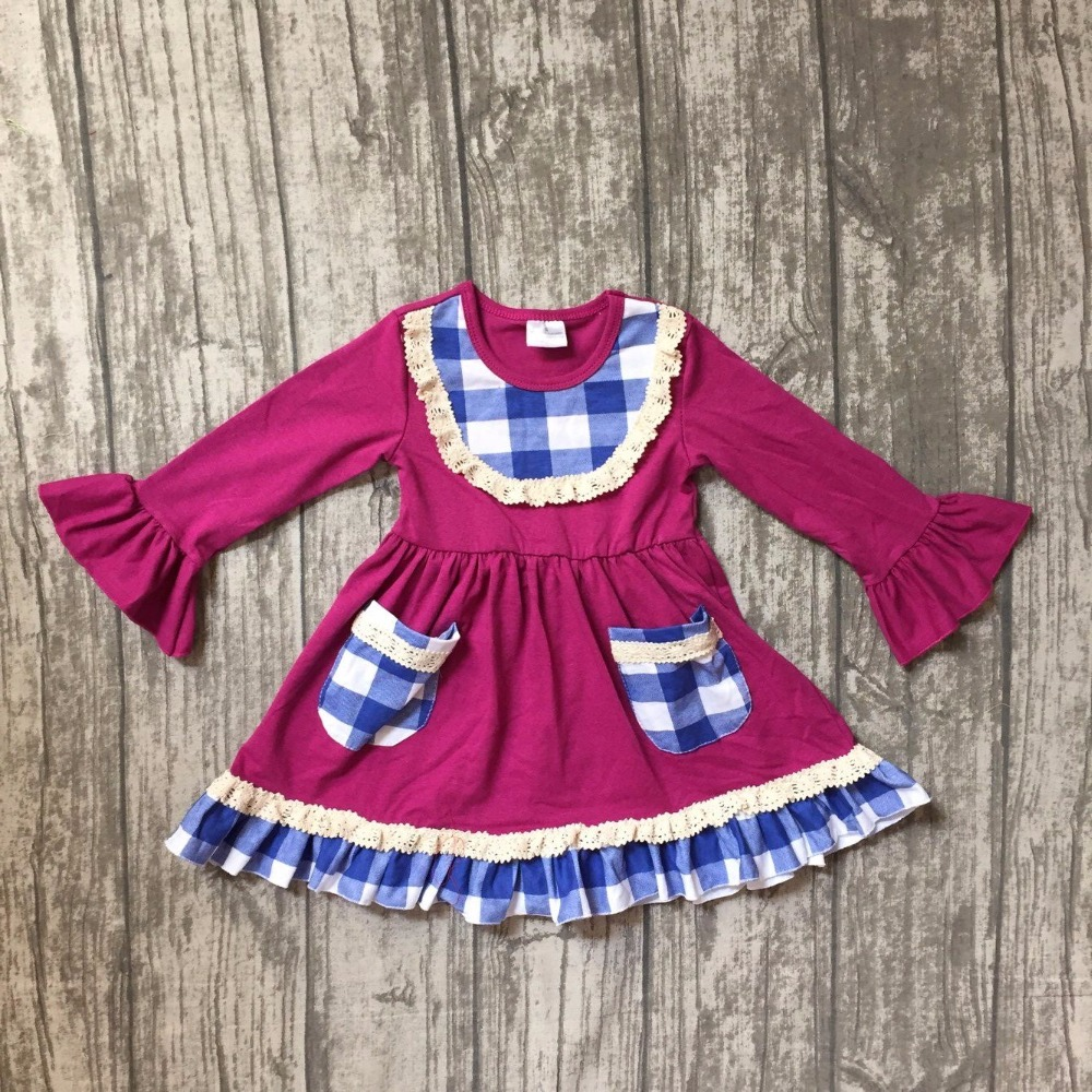 new arrival spring fall/winter baby girls plum blue plaid cotton dress pocket ruffle long sleeve children clothes boutique kids fall winter baby girls milk silk soft cotton dress white reindeer floral print ruffle long sleeve children clothes boutique kids