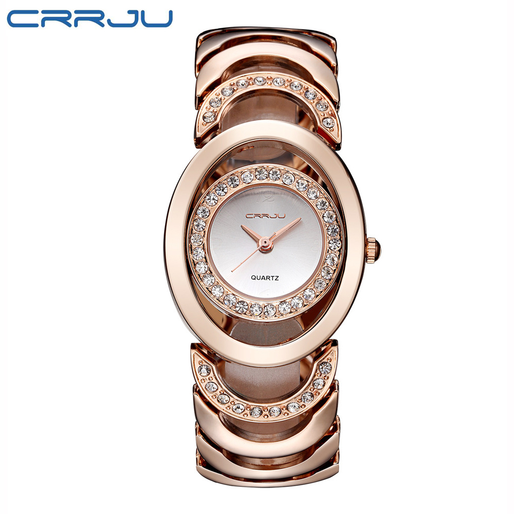 CRRJU Brand Luxury Crystal Gold Watches Women Ladies Quartz Wristwatches Bracelet Steel Watch Relogio Feminino Relojes Mujer baosaili brand luxury crystal gold watches women ladies quartz wristwatches bracelet relogio feminino relojes mujer bs001