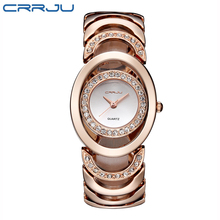 цены CRRJU Brand Luxury Crystal Gold Watches Women Ladies Quartz Wristwatches Bracelet Steel Watch Relogio Feminino Relojes Mujer