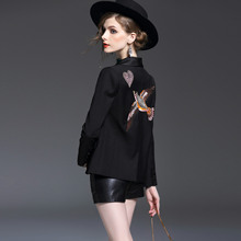 New 2016 autumn winter fashion cute bird embroidery beading women black blazer long sleeve casual blazers outerwear