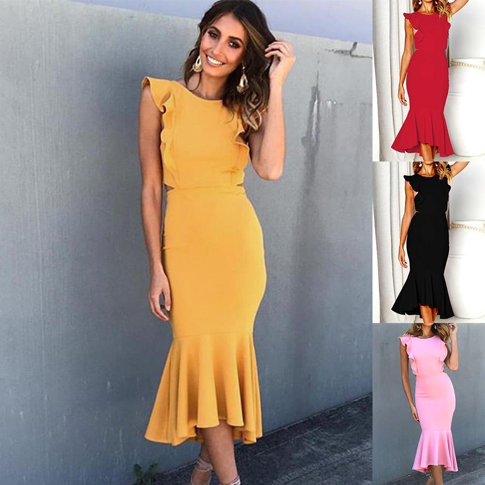 c43ab025a49fa US $13.49 35% OFF|2019 New Spring Summer Fashion Vestidos dress women  Sleeveless mermaid sexy party maxi bodycon elegant backless dress  dresses-in ...