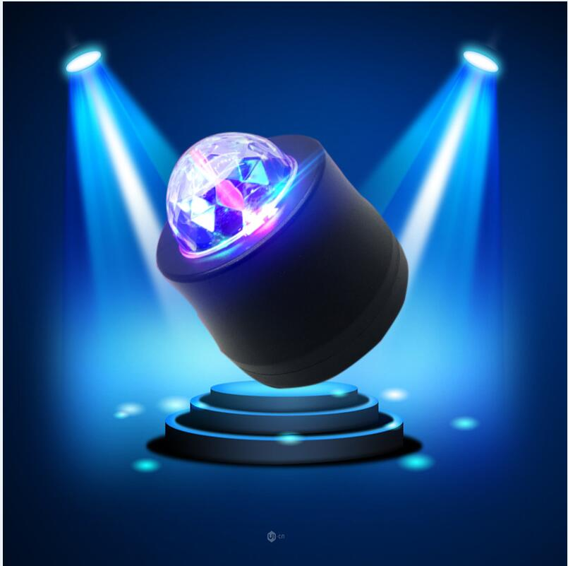 luckeasy Car LED Music Lights DJ Mini  MP3 Club Disco Party Crystal Magic Ball Stage Effect Rotating Bulb in the car/at home mini rgb led party disco club dj light crystal magic ball effect stage lighting