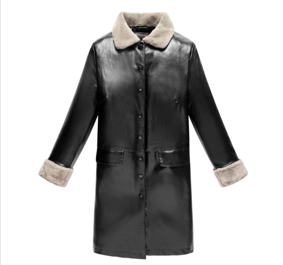 5XL middle-aged ladies inside plus velvet warm   leather   coat autumn and winter new PU fur one   leather   long section