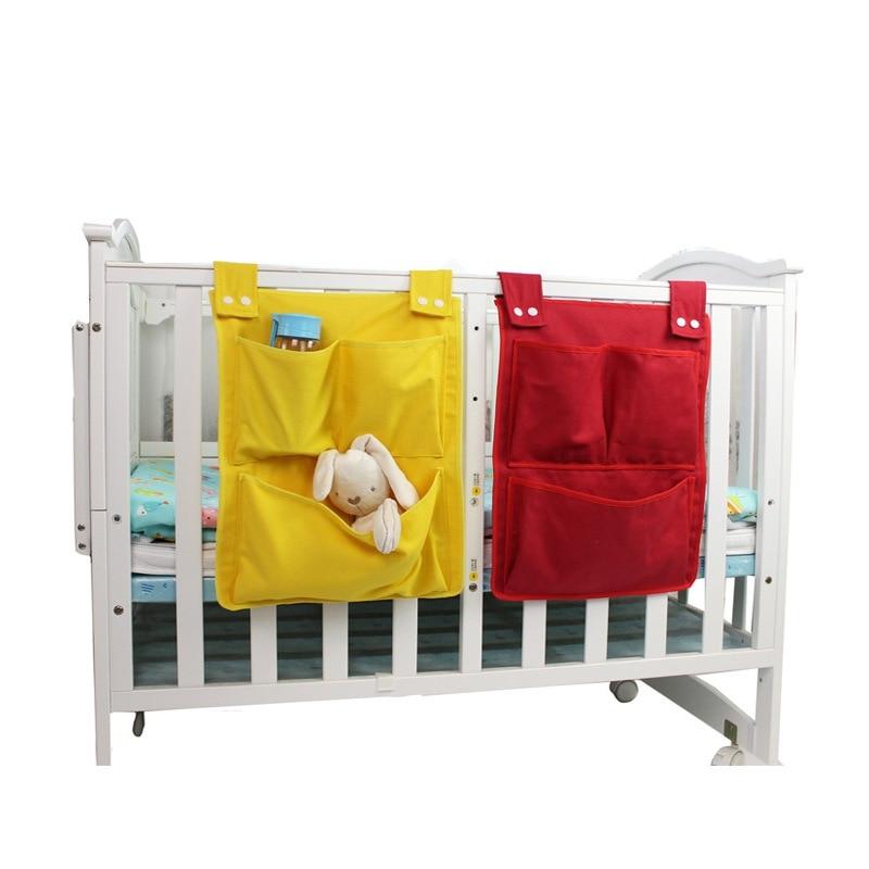 Newborn Bed Hanging Storage Bag Baby Cot Bed Brand Baby Cotton Crib Organizer 45*35cm Toy Diaper Pocket For Crib Bedding Set