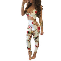 Summer Fashion Floral Print Women Skinny Jumpsuit 2017 New Hot Sexy Backless Deep V Spaghetti Strap