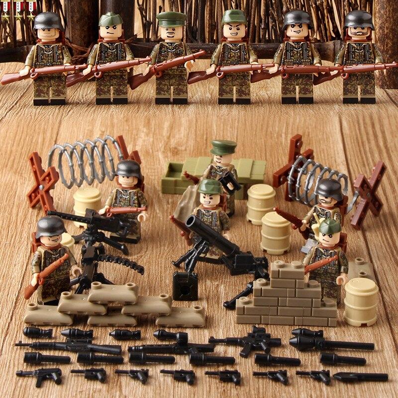 German Paratroopers WORLD WAR 2 Army Military Gun SWAT Weapon Soldier Building Blocks Brick Figures Boy Educational Toy Children