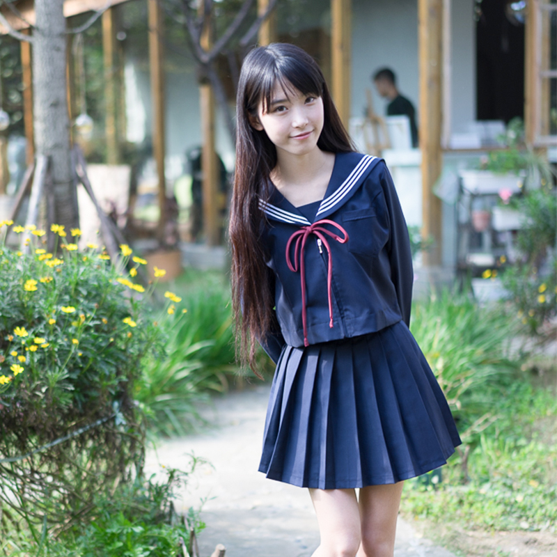 High-endJapanese/Korean Sailor Suit Cosplay Costumes School Uniforms Cute Girls JK Student Clothing Top+Skirts+bow-tie+Stockings