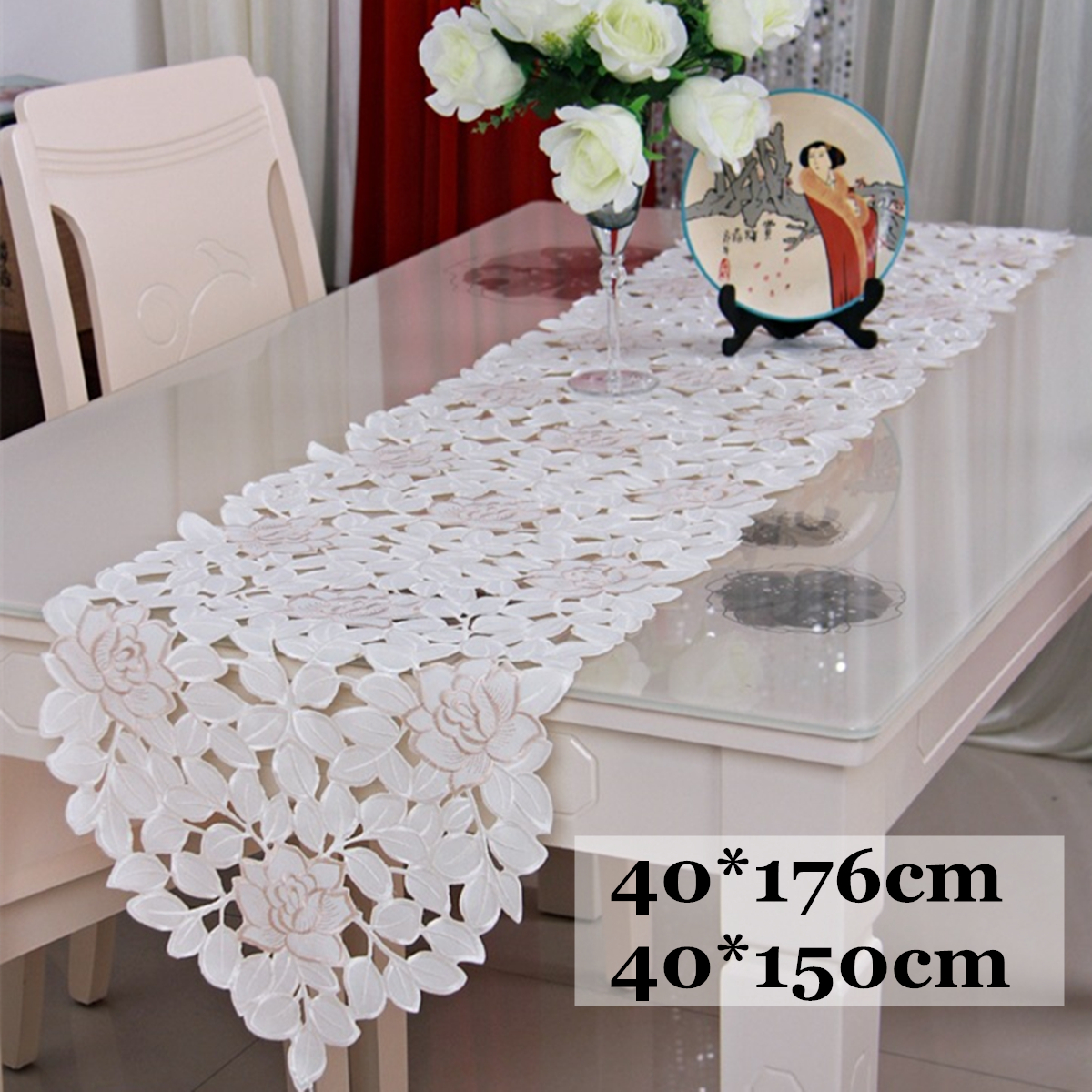 Dining Room Table Runner: 40*150/40*176 Cm Lace Flowers Table Runner Embroidered