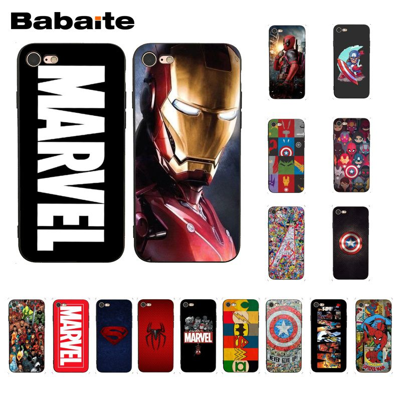 Babaite Deadpool Iron Man Marvel Avengers Phone Case Cover for iphone 11 Pro 11Pro Max 8 7 6 6S Plus X XS MAX 5 5S SE XR
