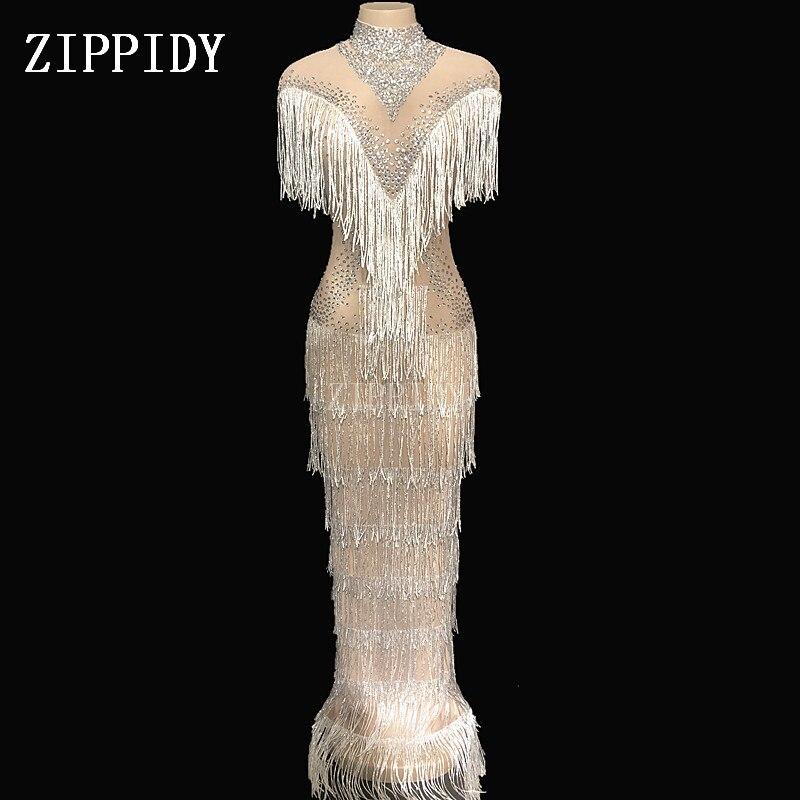Shining Rhinestones Mesh Fringes Dress Women Fashion Birthday One piece Dress Singer Birthday Celebrate Evening Party Dress